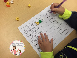Using literacy stations as morning work. Word work.