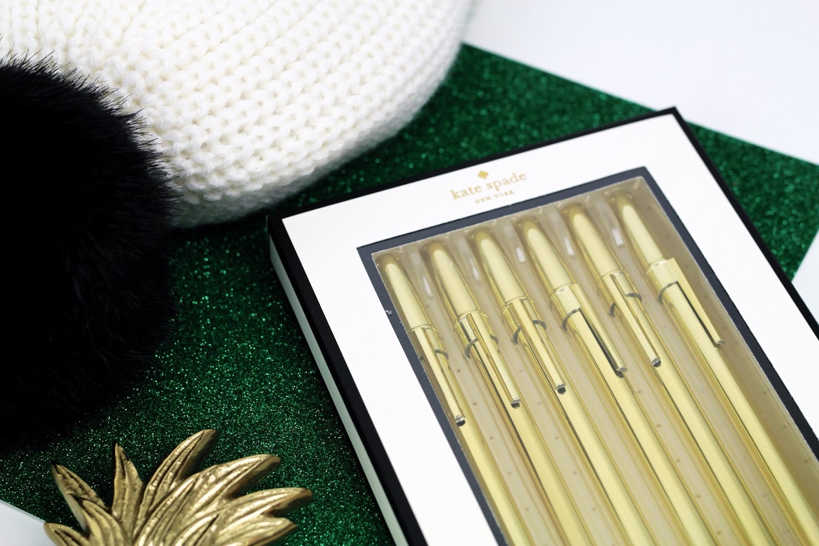 Luxury stationery gold pens by Kate Spade