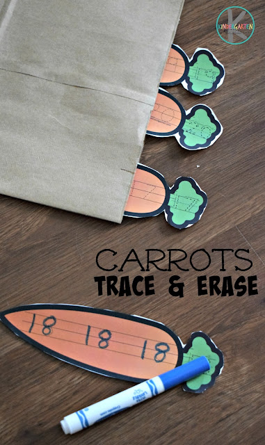 FREE Carrots Trace & Erase numbers 1-20