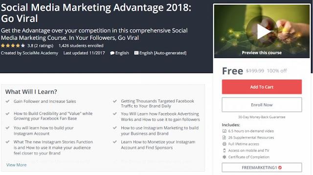 [100% Off] Social Media Marketing Advantage 2018: Go Viral| Worth 199,99$