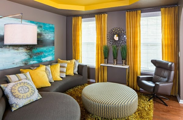 Popular Living Room Color Ideas: Yellow And Gray Color Combination
