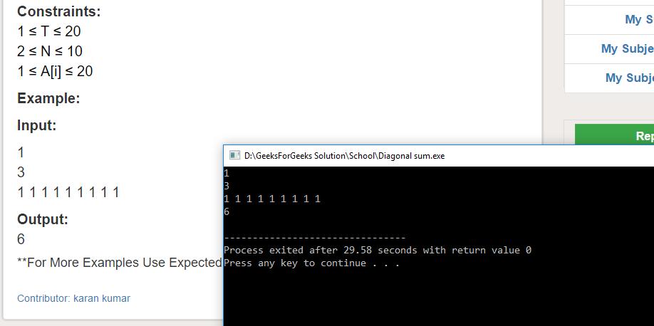 "Geeksforgeeks Solution For "" Diagonal sum """