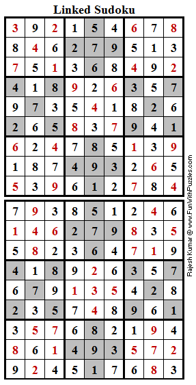 Linked Sudoku (Fun With Sudoku #160) Solution
