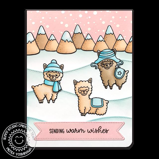 Sunny Studio Stamps: Alpaca Holiday Pastel Pink & Aqua Snowy Winter Christmas Card