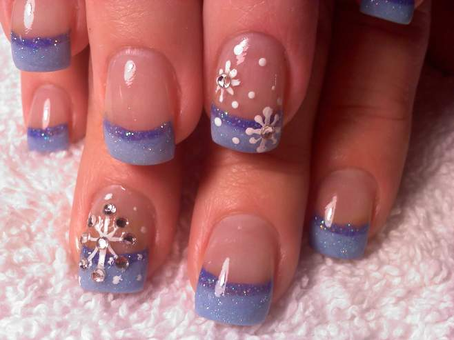 Winter Snowflake Nail Design