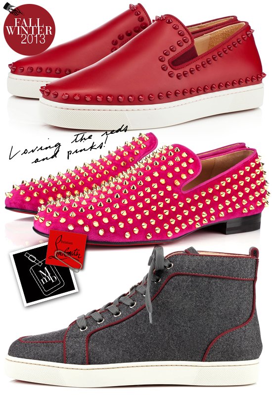 a10dab18c32950 ... mens shoes here). Below  Red tones for the infamous red soles... how  befitting. The Pink velvet Rollerboy Spikes makes a true fashion statement  for the ...