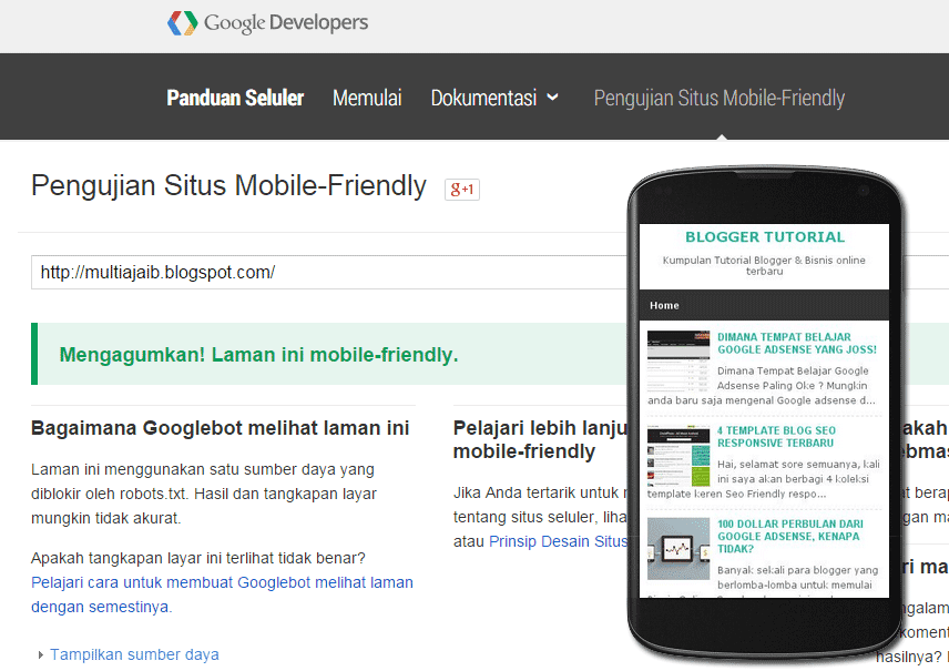 Cek Mobile Friendly Blogger Template