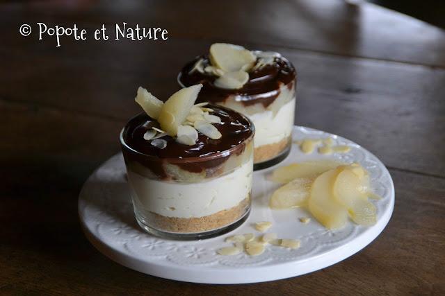 Cheesecake sans cuisson aux poires et aux 2 chocolats ©Popote et Nature