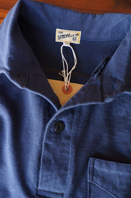 THE Y.M.WALK ON  ONE-PIECE COLLAR POLPSHIRT  NAVY