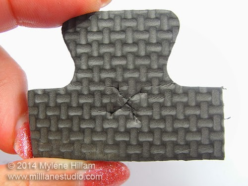 """X"" cut into the foam"