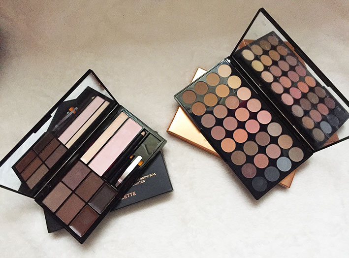 Makeup Revolution eyebrow palette and Eyeshadow palette.