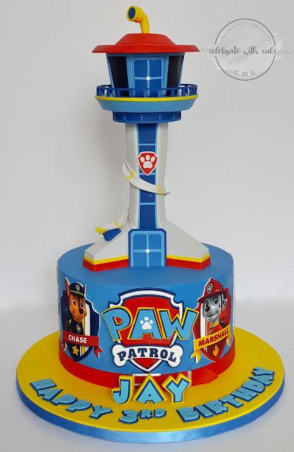 celebrate with cake paw patrol tower on single tier cake