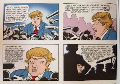 foto de una página de la revista de historietas 'Doonesbury', donde su fundador y artista Garry Trudeau predijo el ascenso del candidato republicano a la Presidencia de EE.UU., Donald Trump
