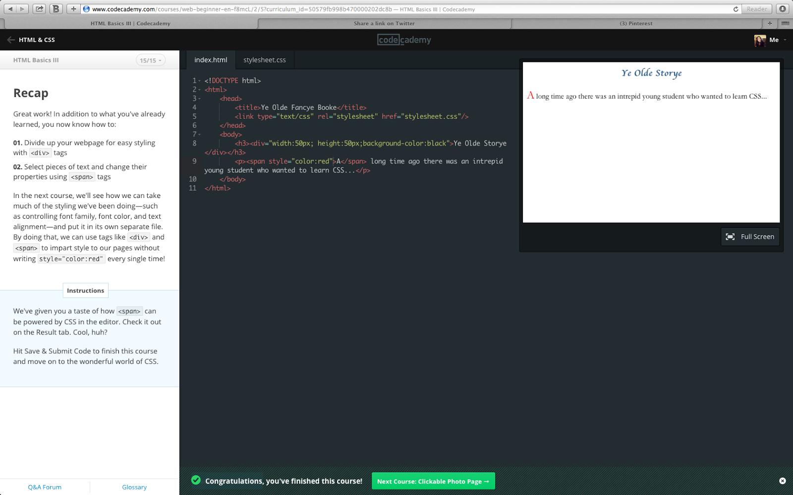 Nadia Larashari Shabrina: Codecademy: HTML Basic III