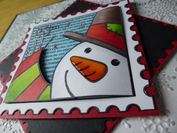 Snowman Postage Stamp Card using Woodware Stamps