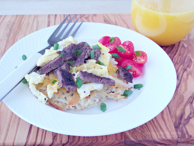 Individual Steak and Egg Breakfast Pizza's on a Hash Brown Crust