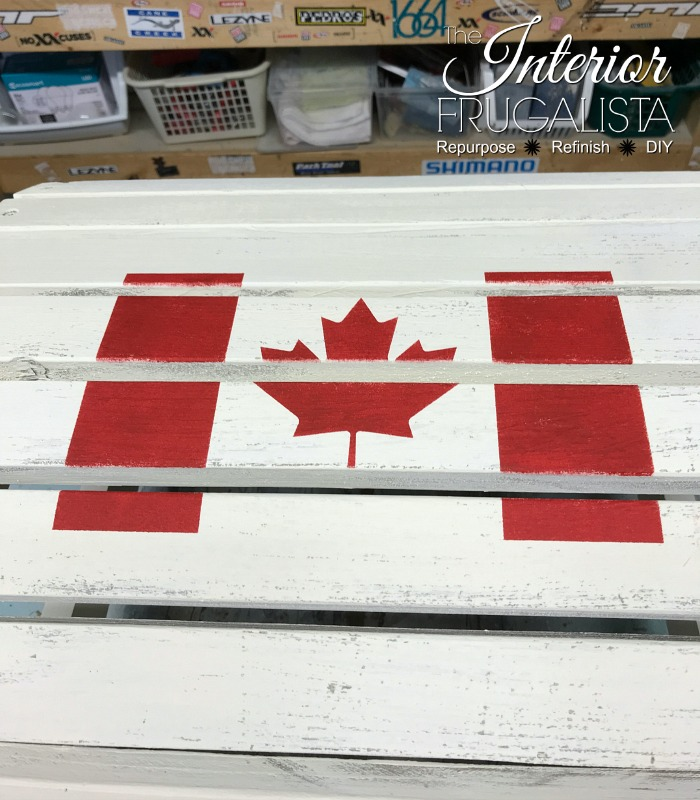 Adirondack Footstool Stenciled Canadian Flag