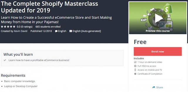 [100% Free] The Complete Shopify Masterclass Updated for 2019