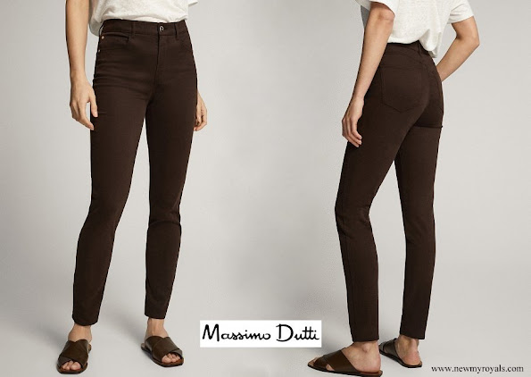 Kate Middleton wore Massimo Dutti Chocolate Skinny Fit High Rise Satin Trousers