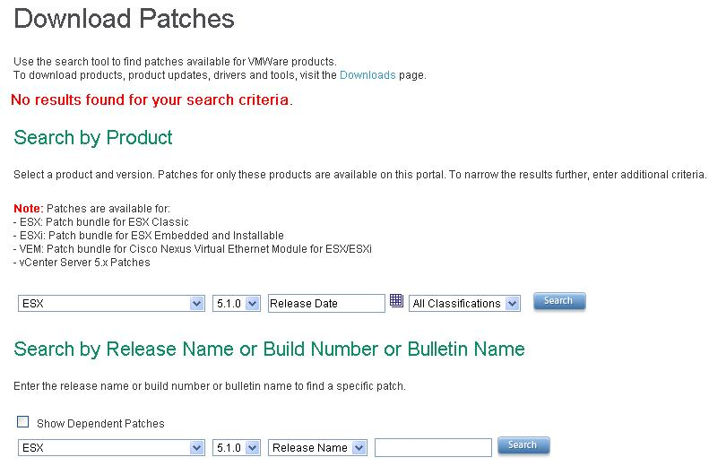 Search and Download VMware Patches