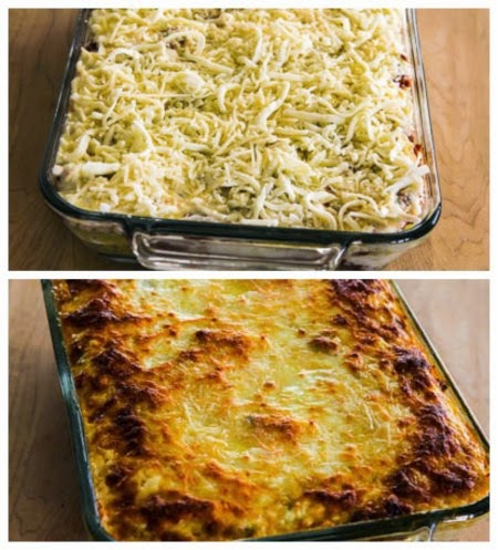 Low-Carb and Gluten-Free Mock Lasagna Spaghetti Squash Casserole found on KalynsKitchen.com