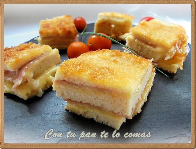 Pastel de pan de molde, jamon y queso