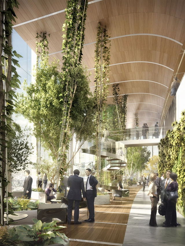 Photo of vegetation in interiors of new Lotte World Tower in Seoul
