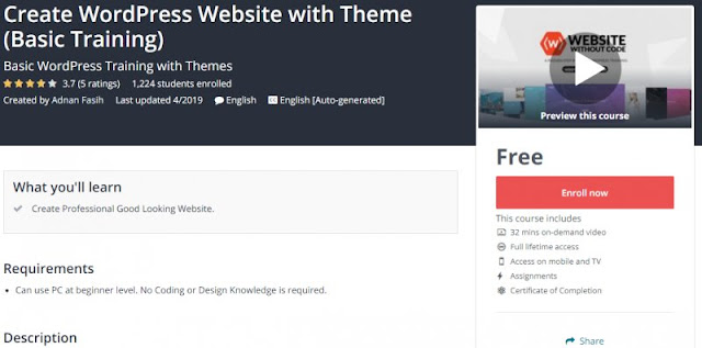 [100% Free] Create WordPress Website with Theme (Basic Training)