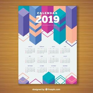 Calendario geométrico colorido para 2019
