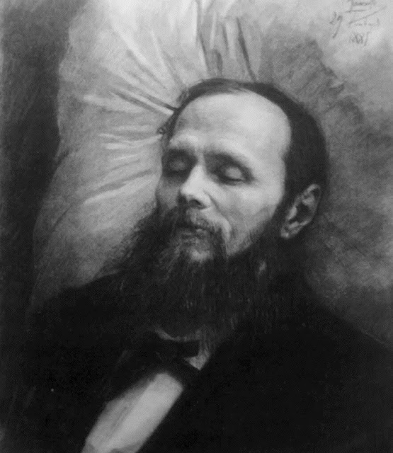 Dostoyevsky on his bier, drawing by Ivan Kramskoi, 1881