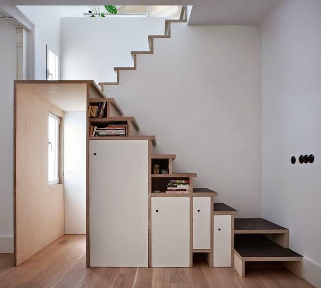Memanfaatkan Tangga Sebagai Ruang Penyimpanan Rancangan Memanfaatkan Tangga Sebagai Ruang Penyimpanan