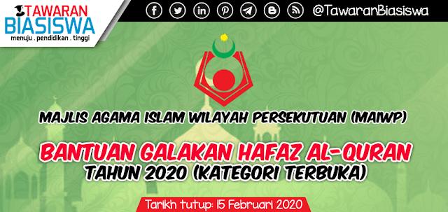 Permohonan Bantuan Galakan Hafaz Al-Quran Majlis Agama Islam Wilayah Persekutuan (MAIWP) 2020