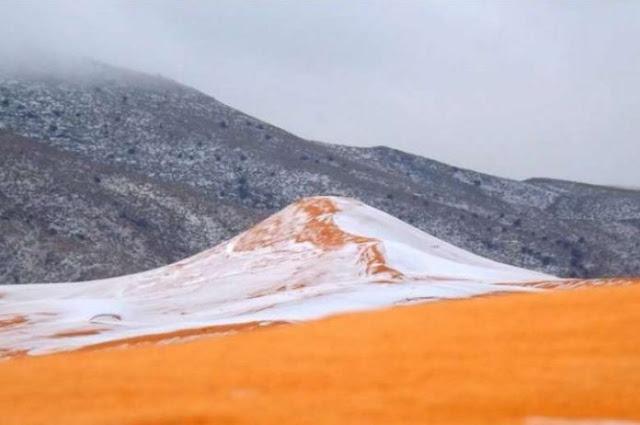 อากาศแปรปรวนหนัก  หิมะตกในทะเลาทรายซาฮารา