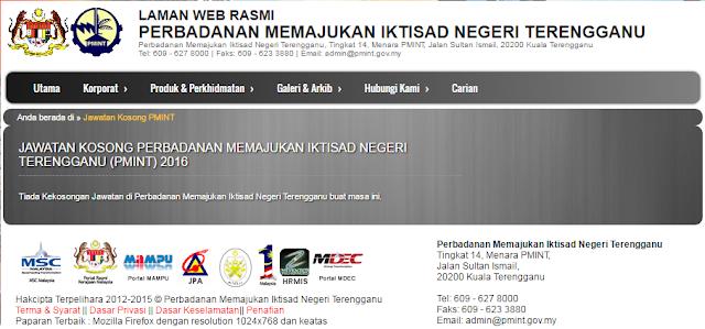 Rasmi - Jawatan Kosong di (PMINT) Perbadanan Memajukan Iktisad Negeri Terengganu Terkini 2019
