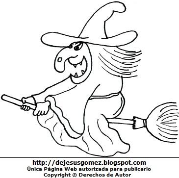 Dibujo de bruja vieja para colorear o pintar para niños. Imagen de bruja hecho por Jesus Gómez