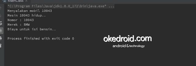 Output Hasil contoh kegunaan code program regular pengertian fungsi materi inner class pada java