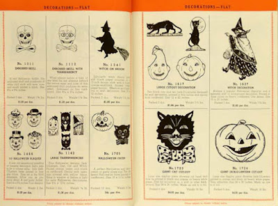 Two catalog pages of vintage Halloween collectibles that has Beistle's witch decoration as well as skulls and jack-o-lanterns, etc.