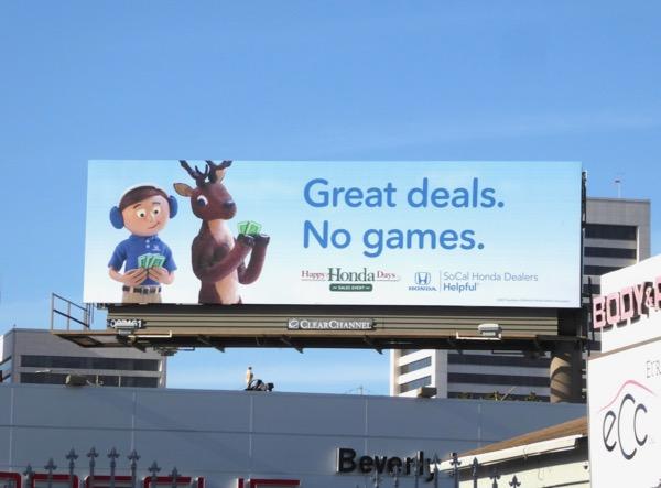 Honda Great deals No Games billboard