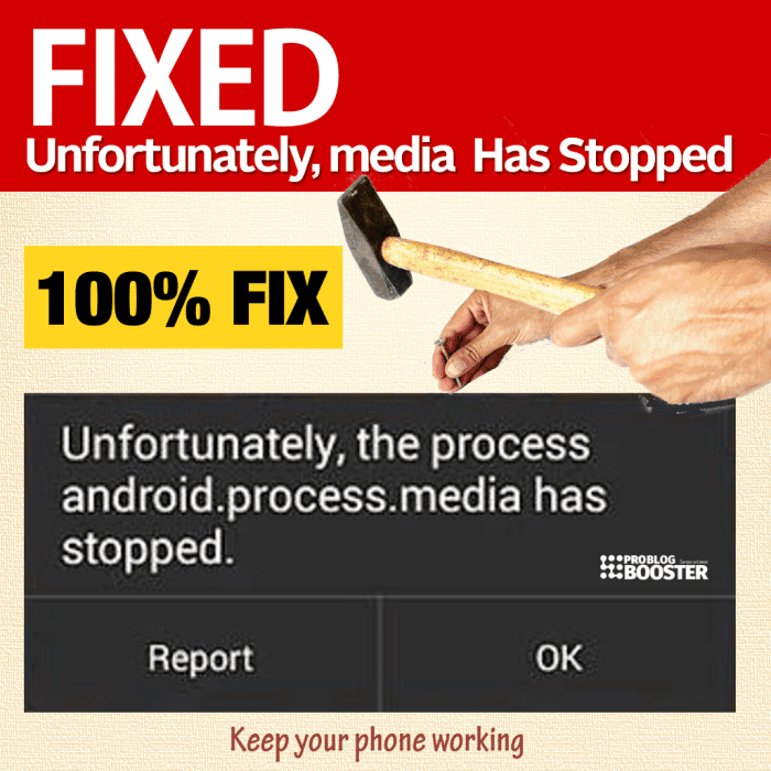 Fix Unfortunately the process android process media Has Stopped
