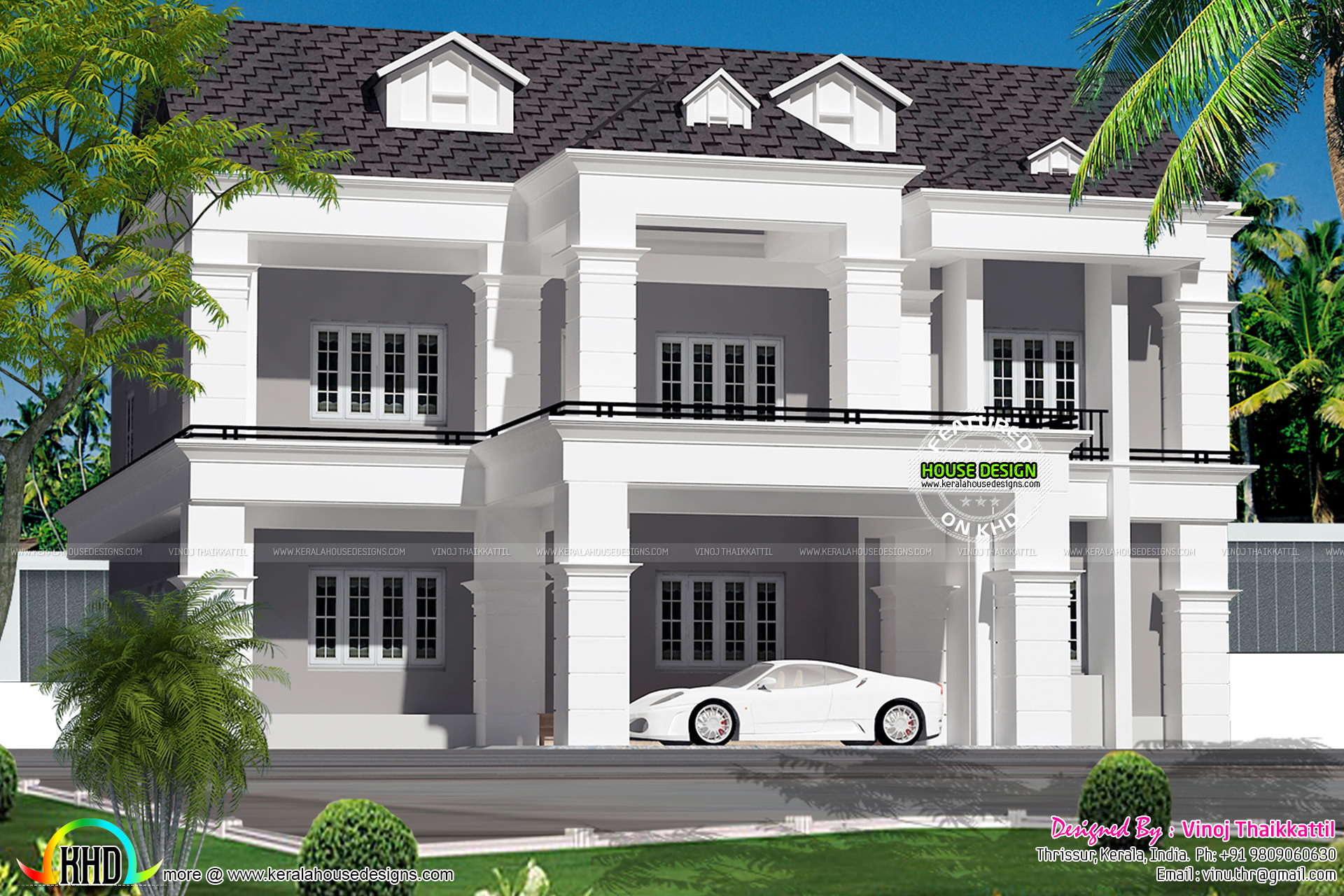 5 bedroom colonial type villa kerala home design and floor plans. Black Bedroom Furniture Sets. Home Design Ideas