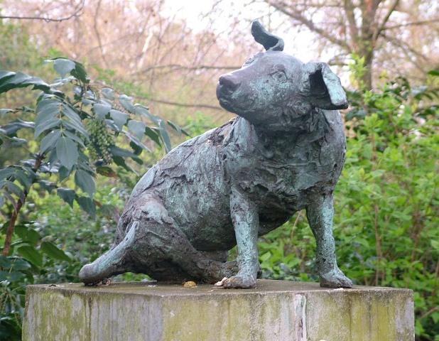 La estatua del perro operado en vivo.