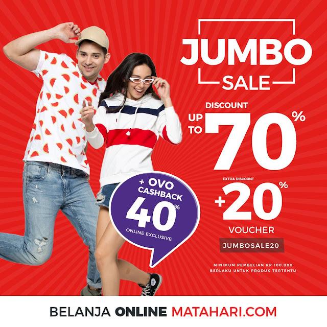 #Matahari - #Promo Jumbo Sale Diskon Hingga 70% + Extra 20% & Cashback OVO Hingga 40%
