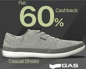 GAS Men's Shoes – Flat 60% Cashback@ Paytm