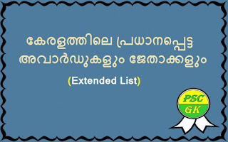 Important Awards in Kerala and Their Winners Extended List