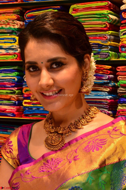 Raashi Khanna in colorful Saree looks stunning at inauguration of South India Shopping Mall at Madinaguda ~  Exclusive Celebrities Galleries 004.jpg