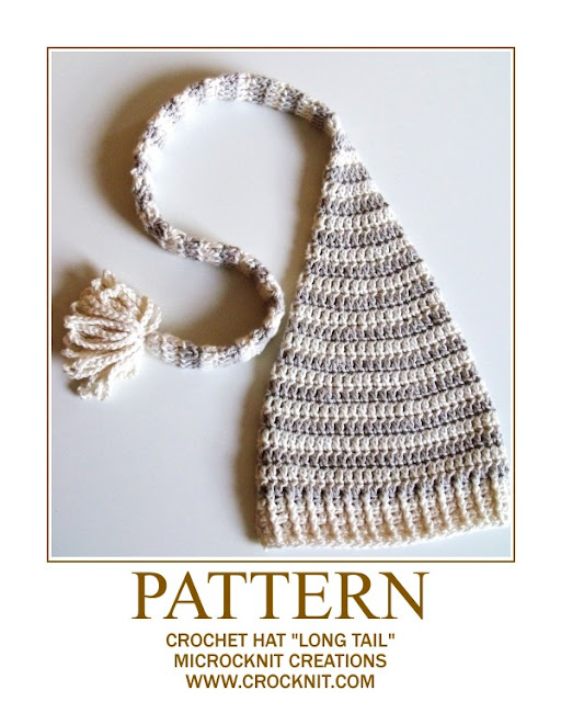crochet patterns, how to crochet, long tail, elf, pixie, baby hat, newborn hat,