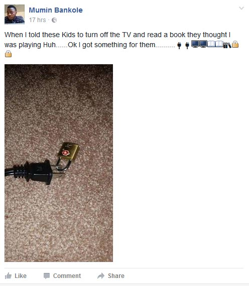 "Lol. See how a wicked ""uncle"" punished his younger ones for watching TV"