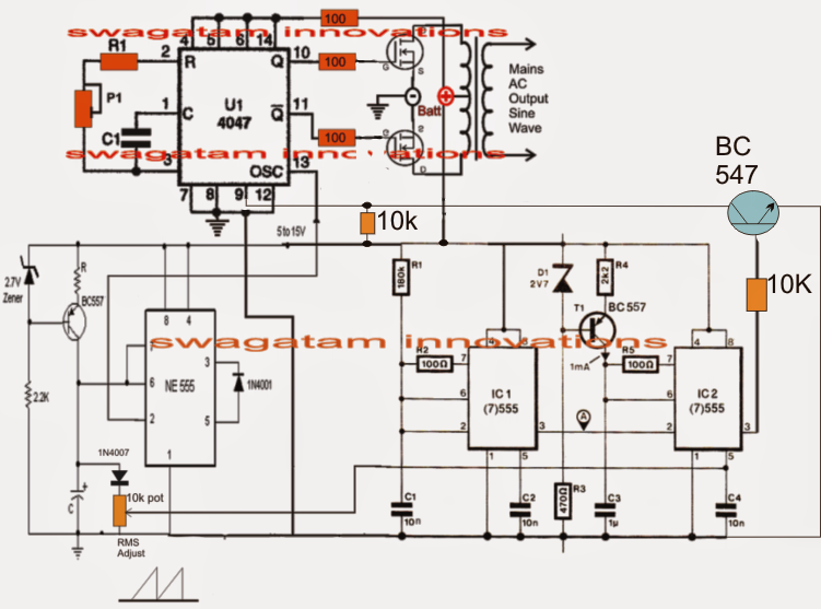 Pure Sine Wave Inverter Circuit Using on transformer capacitor wiring diagram