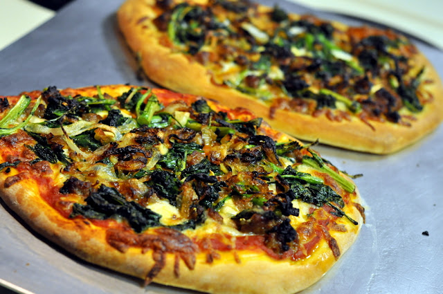 Pizza with Italian Sausage, Broccoli Rabe, and Caramelized Onions | Taste As You Go
