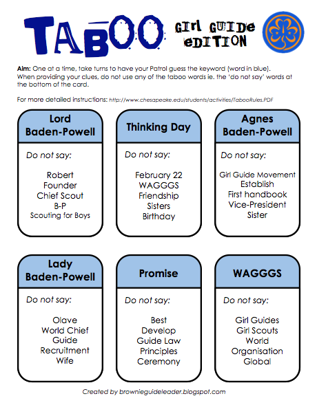 living by the guide law girl guide taboo card game